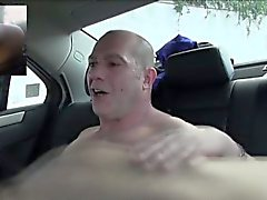 Young and horny brunette fucks a friend on the backseat of