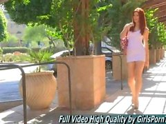 Melody solo amateur teen poses in public