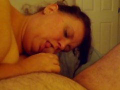Sexy Brunette BBW Sucking young cock!