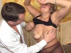 Russian young man and mature mother
