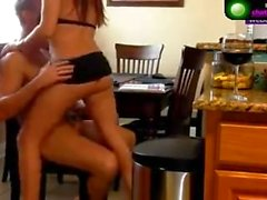 Kitchen lap dance turns into hard squirting on webcam