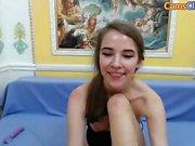Cute teen girl toying orgasm on webcam