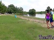 Teen lesbian ass Eveline getting boinked on camping site