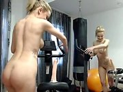 Liz sexy blonde teen toying pussy with a vibrator on the bed