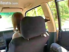 Amazing babysitter threesome in the car