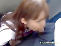 Schoolgirl Giving Blowjob For Guy Getting Facial On The Bus