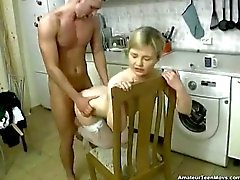 Blonde banged in the kitchen