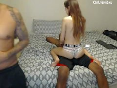 interracial hot teen cant handle double black sausage one