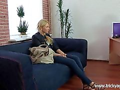 Tricky Agent - Modest blondy turns to be really starving for sex!