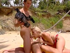 Blonde Teen Orgy in the beach