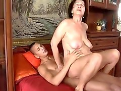 Slut-granny with flabby tits & body fucking with guy