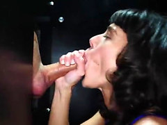 Brunette milf interracial and cum in mouth