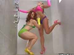 Two horny girls in sexy outfit showing