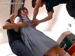 Asian schoolgirl swallowing a big load of fresh cum