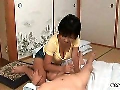 Horny asian milf goes crazy jerking