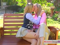 Stepmommy pussylicking teenage schoolgirl