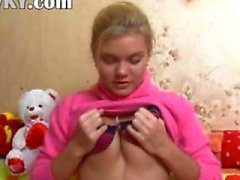 Playful babe from Russian copulating