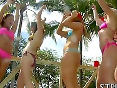 Arousing college girls stripped and fucked poolside