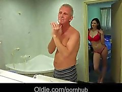 Young girl giving oral sex to her old man next door