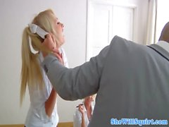 Cute squirting schoolgirl fucked by teacher