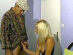 Blonde woman and old men