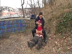 Young slut and older guy have nothing against sex in public