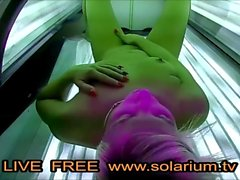 Blonde Teen fingers herself in Live Public Voyeur Solarium Cam