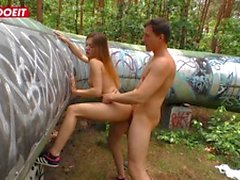Horny German Couple Has Sex Session In The Woods