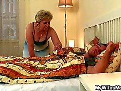 Big tits blonde granny taking sweet sleeping young cock in bed