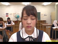 Abe Mikako Gets Massive Bukkake Face In Classroom Continual