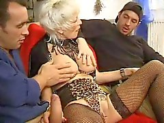 FRENCH MATURE 27 anal blonde mom milf with 2 younger men