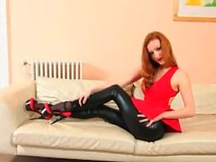 fluent black pantyhose and redhead strip