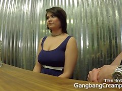 Sexy curvy latina interviewed before her gangbang