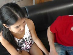 Teen babe cheats on her cuck boyfriend right beside him