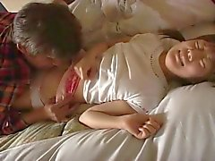 Cute japanese babe acts like a toy for this older dude !