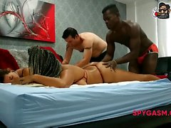 Terry, Laura, Darren, Chanell are having oily massage orgy