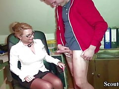 German Milf Seduce Young Boy to Fuck on Work in Office