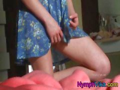Teen Vika rubs her pussy in this upskirt view of her masturbating