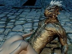 Argonian gets laid with a lonely young woman
