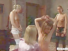 One lesbian czech teen spanked by others in lingerie