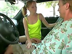 Alyssa hart give big dick handjob in car