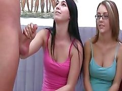 Young girls with glasses gag dick