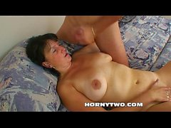 Horny mature brunette bitch with big pussy fucks young boy in old young hardcore